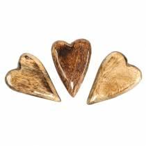 Herzen aus Mangoholz Glasiert Natur 6,2–6,6cm × 4,2–4,7cm 16St