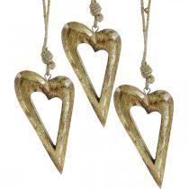 Deko-Herz, Mangoholz Goldeffekt, Holzdeko zum Hängen 13,5cm × 7cm 4St
