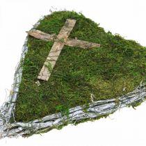 Grabschmuck Herz Reben, Moos mit Kreuz für Grabgesteck 30×20cm