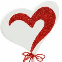 Herz am Stab Rot, Weiß Dekoherz Dekostecker Valentinstag 16St