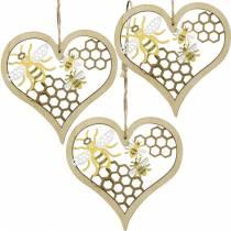 Dekoherz Bienen Gelb, Golden Holz Herz zum Hängen Sommerdeko 6St
