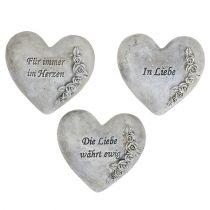 Herzen mit Spruch Grau 13cm x 12cm 3St
