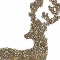 Dekostecker Hirsch Glitter Gold Sortiert 8/10cm 18St
