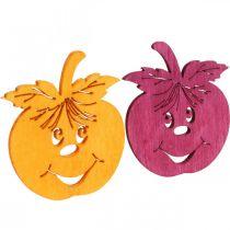 Streudeko Lachender Apfel, Herbst, Tischdeko, Holzapfel Orange, Gelb, Grün, Pink H3,5cm B4cm 72St