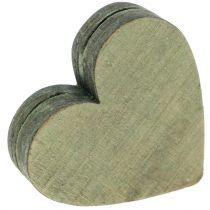 Holzherzen Grau/Rot/Grün 3-6,5cm  8St