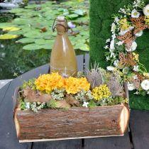 Holzkiste zum Bepflanzen, Pflanztopf mit Griffen, Blumenkasten mit Rinde 45,5cm