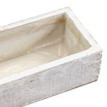 Holzschale zum Bepflanzen weiß 30cm x 9cm x 6cm