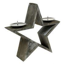 Holzstern mit 2 Kerzenhaltern Grau 29cm H27cm