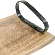 Tablett aus Holz, Dekotablett mit Metallgriffen, Tischdeko L44cm
