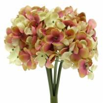 Hortensienbund Kunstblumen Rosa, Gelb 28cm
