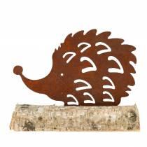 Igel Edelrost am Holzfuß 14,5cm x 17,5cm
