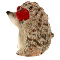 Igel Keramikfigur mit Apfel braun 7,5cm