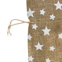 Jute-Sack mit Sternen 23cm x 23cm H35cm Natur