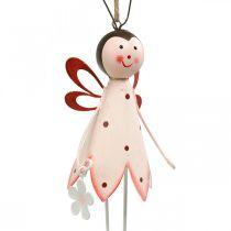 Käfer zum Hängen, Frühlingsdeko, Metallkäfer mit Blume, Dekohänger 2St