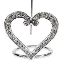 Kartenhalter Herz für Tischdeko 4cm Silber 6St