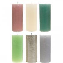 Stumpenkerzen durchgefärbt verschiedene Farben 85×200mm 2St