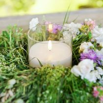 Kerzendeko LED-Kerze im Glas Echtwachs Weiß Ø10cm H13cm
