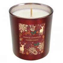 Duftkerze Weihnachten Orange, Zimt Kerzenglas Rot Ø7/ H8cm