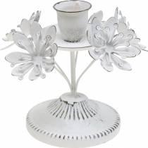 Kerzendeko, Frühling, Kerzenhalter mit Blüten, Metalldeko für die Hochzeit