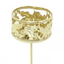 Teelichthalter zum Stecken, Adventsdeko, Kerzenhalter Stechpalmendekor Golden Ø5,5cm 4St