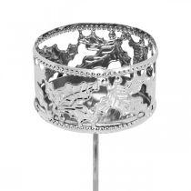Kerzenhalter mit Steckpalme, Teelichthalter für Adventskranz Silbern Ø5,5cm 4St