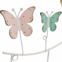 Frühlingsdekoration, Hakenleiste mit Schmetterlingen, Metalldeko, Deko-Garderobe 36cm