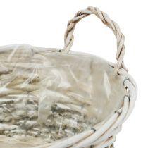 Pflanzkorb rund Weiß gewaschen Ø 26,5cm