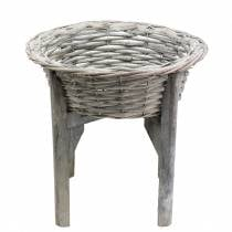 Korbschale mit Holzständer Grau, Weiß gewaschen Ø33cm