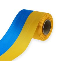 Kranzbänder Moiré Blau-Gelb 100 mm