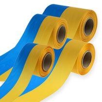 Kranzbänder Moiré blau-gelb