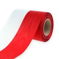 Kranzbänder Moiré Weiß-Rot 125 mm