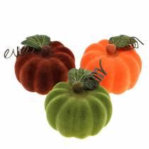 Mini-Kürbis beflockt Orange, Grün, Rot Ø9cm 6St