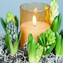 LED-Kerze im Glas Echtwachs Orange Ø10cm H12,5cm