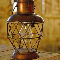 Solar-Laterne, LED-Hängelampe Industrielook Ø16cm H32cm