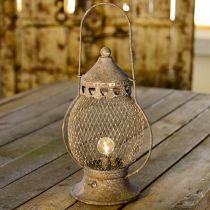 Metall-Laterne, LED-Lampe, Shabby Chic Ø16cm H33,5cm