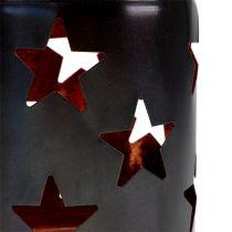 Laterne mit Stern-Muster schwarz-kupfer Ø10cm H13,5cm