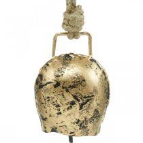 Schellen zum Hängen, Mini-Kuhglocken, Landhaus, Metallglocken Golden, Antik-Look 7×5cm 12St