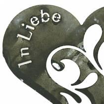 """Trauerstecker Herz """"In Liebe"""" Silber, Weiß gewaschen Metall Ø11cm 12St"""