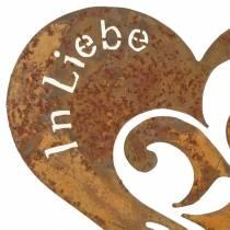 """Trauerstecker Herz """"In Liebe"""" Edelrost Metall Ø11cm 12St"""