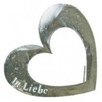 """Metallstecker """"Unvergessen"""" """"In Liebe"""" """"In Erinnerung"""", Trauerdeko Herzen, Silbern 8×7cm 12St"""