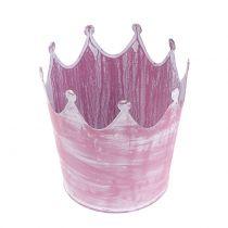 Metallkrone Rosa weißgewaschen Ø10cm H9cm 6St