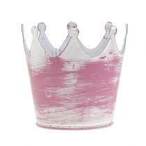 Metallkrone Rosa weißgewaschen Ø8cm H7cm 8St