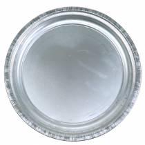 Deko-Teller Metall Silber Glänzend Ø36cm H3cm