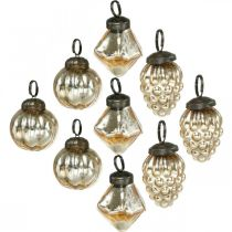 Mini-Baumkugeln, Diamant/Kugel/Zapfen, Baumbehang-Mix Antik-Optik Ø3–3,5cm H4,5–5,5cm 9St