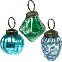 Mini-Glaskugel-Mix, Diamant/Kugel/Zapfen, Christbaumschmuck Antik-Optik Ø3–3,5cm H4,5–5,5cm 9St