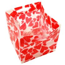 Mini Taschen Plastik Rot 6,5cm x 6,5cm 12St
