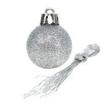 Mini Weihnachtskugel Silber Ø3cm 14St