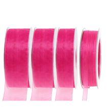 Organzaband mit Webkante 50m Pink