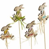 Osterhase mit Blume, Hasendeko für Ostern, Hase am Stab, Frühling, Holzdeko Blumenstecker 12St