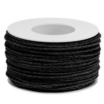 Papierkordel Draht umwickelt Ø2mm 100m Schwarz